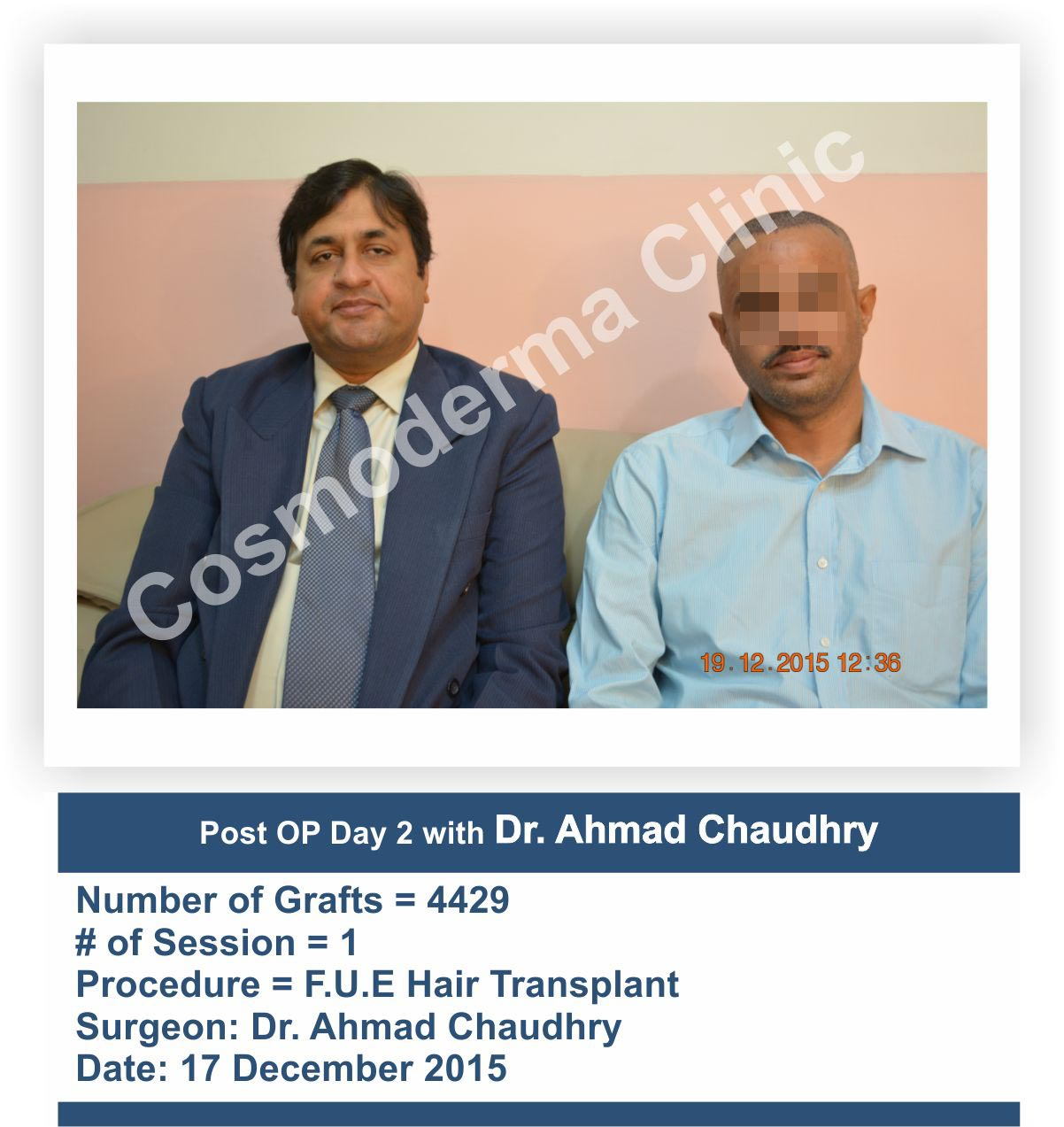 Dr.Ahmad Chaudhry -hair transplant surgeon- with patient